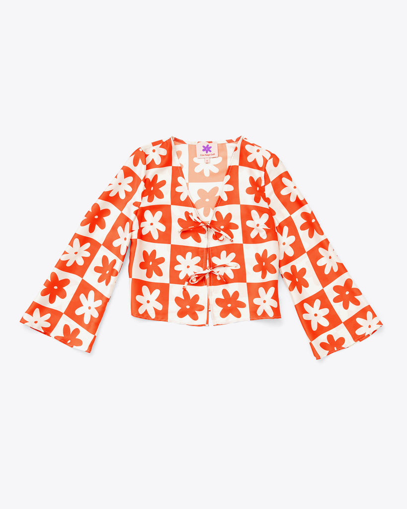 white and orange daisy check long sleeve top