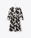 cow print midi dress with cinched waist