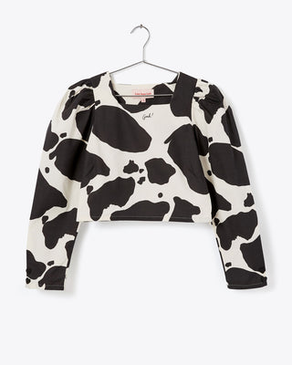 cow print cropped long-sleeve blouse
