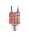 Yellow, blue, green, and red plaid scoop-neck one-piece swimsuit laying flat on white background