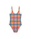 Yellow, blue, green, and red plaid scoop-back one-piece swimsuit laying flat on white background to show back view