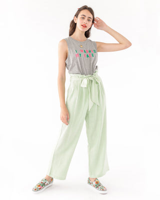 Light green pants with high waist and tie at the top