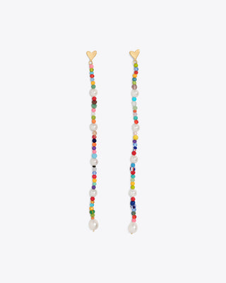 long beaded earrings with pearl, crystal, and African beads suspended by a gold heart post