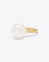 single pearl ring with a gold band