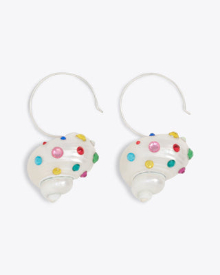 shell shaped earrings with rainbow stone features and a sterling silver hook