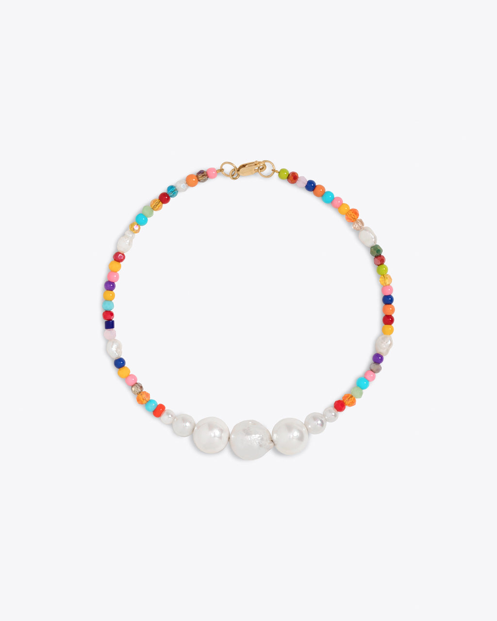 multi colored beaded ankle bracelet with baroque cultured pearls and a gold filled clasp