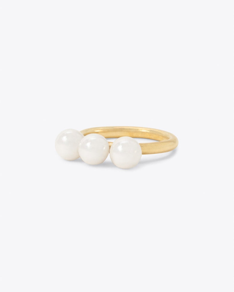 three pearl ring with gold band