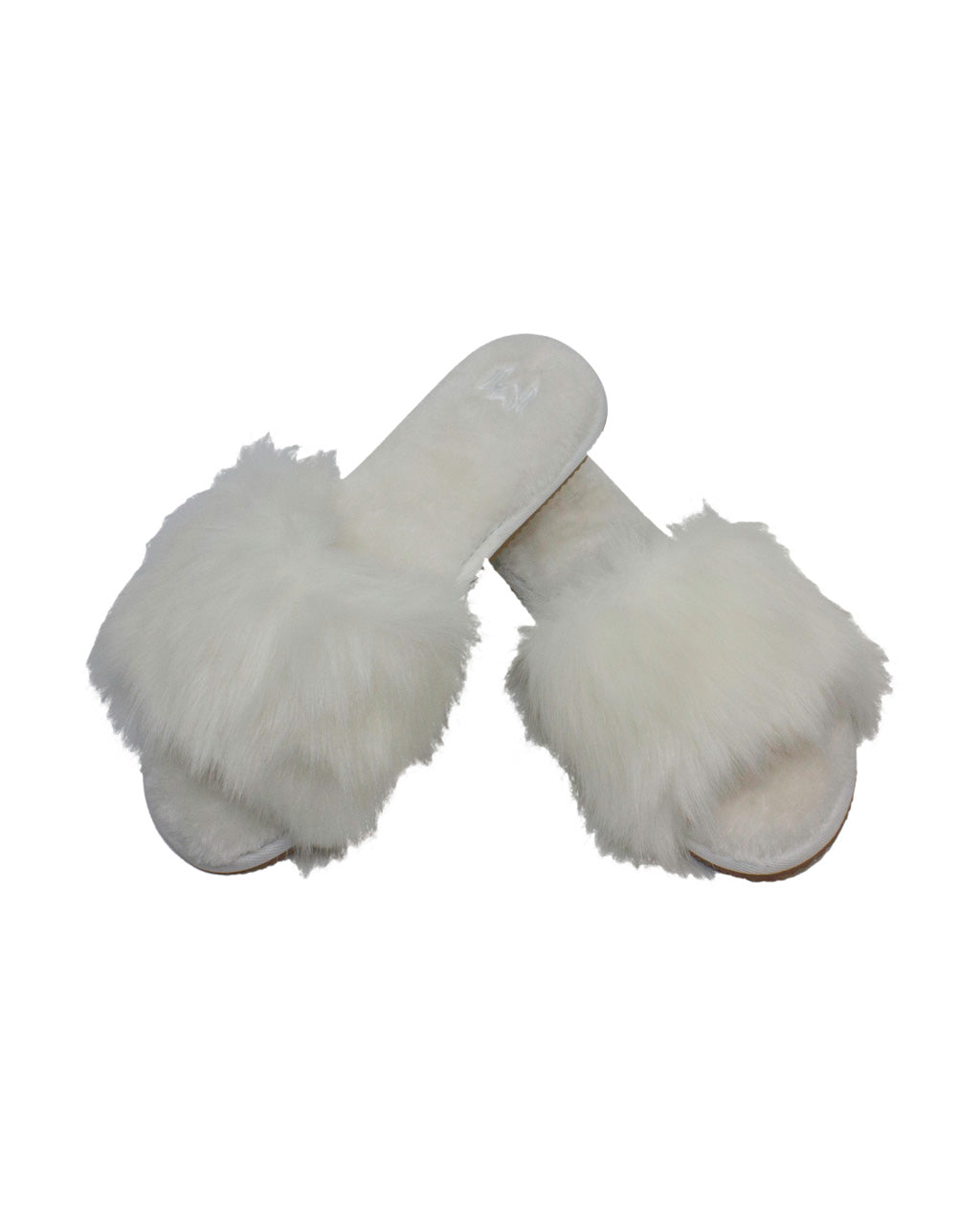 white faux fur slippers