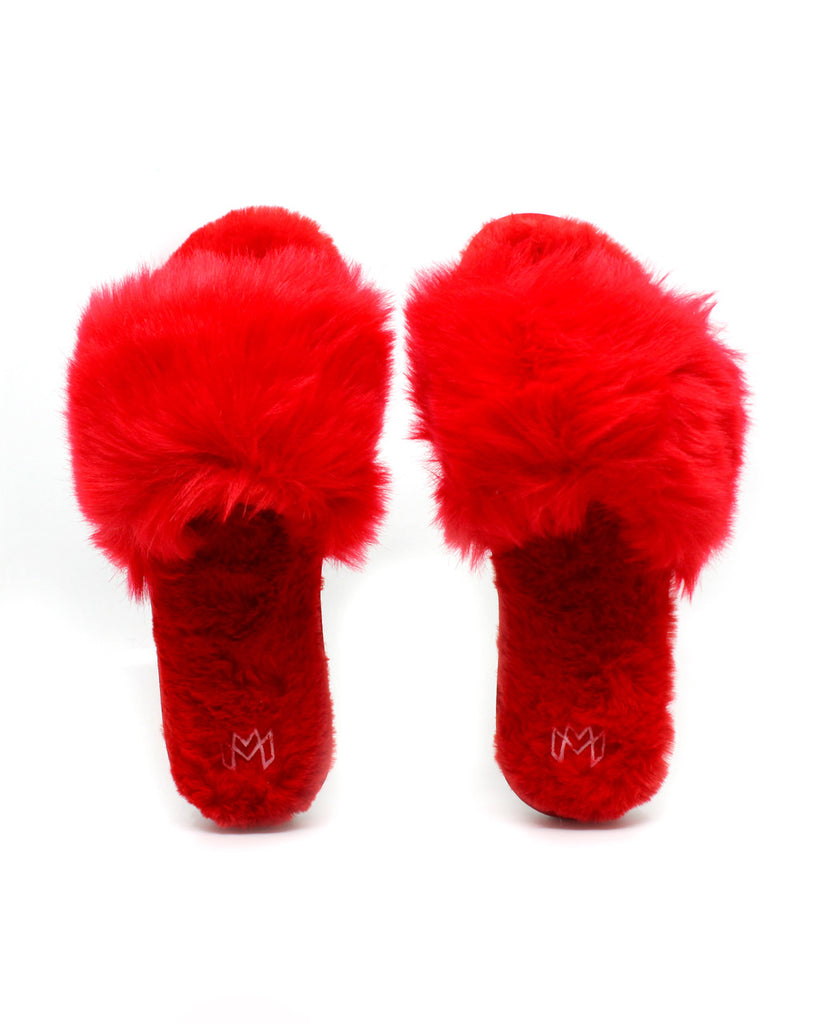 red faux fur slippers