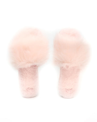 blush pink faux fur slippers