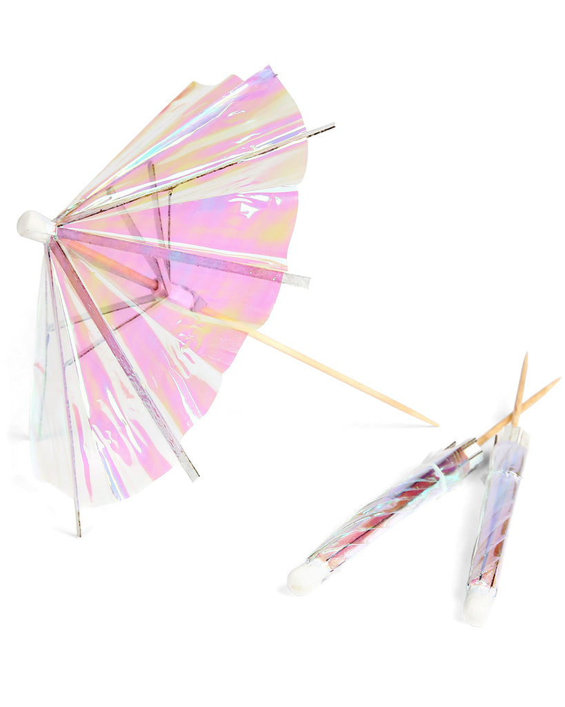 iridescent cocktail umbrellas