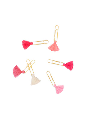 shopthelook_tassel paper clips - pink