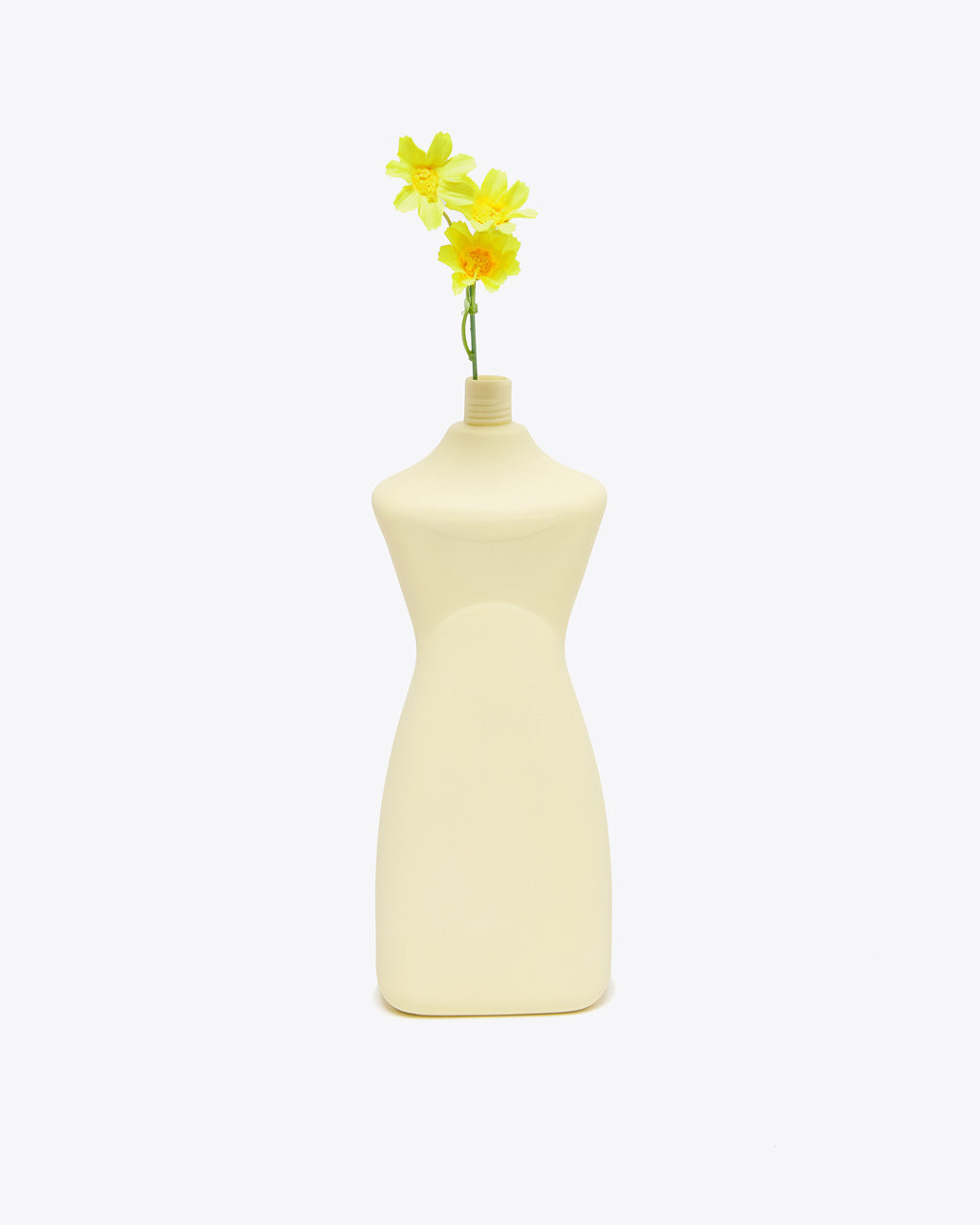 yellow curvy vase shown with flower