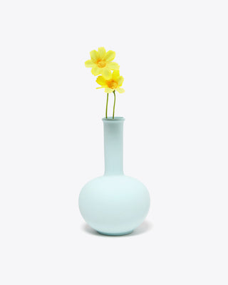 mini blue vase with flowers