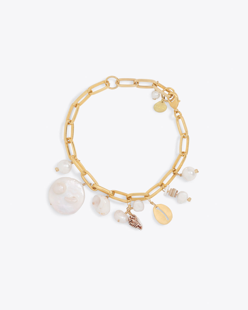 gold chain charm bracelet with pearl and shell charms
