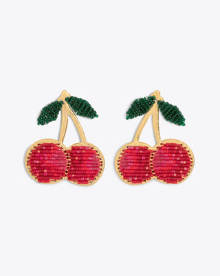 gold cherry shaped earrings with a beaded design