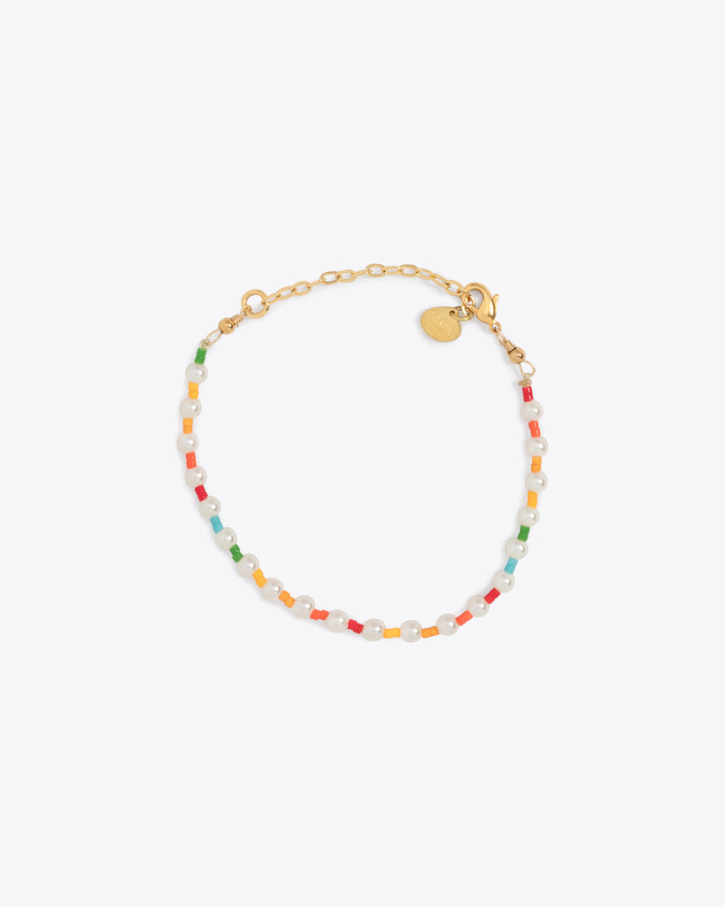 Gold chain pearl bracelet with multi color accents
