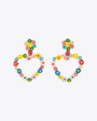 Heart-shaped earrings with multi colored floral accents