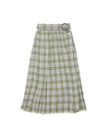 Midi length green plaid skirt with attached belt