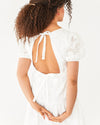 back upper body shot of white midi dress with a cut out back and tie at the top