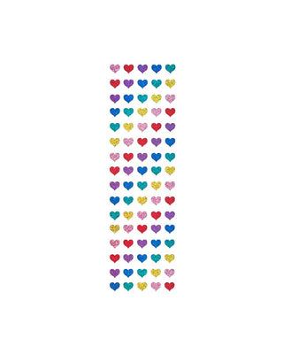 These Mini Heart stickers come in sparkly rainbow colors.