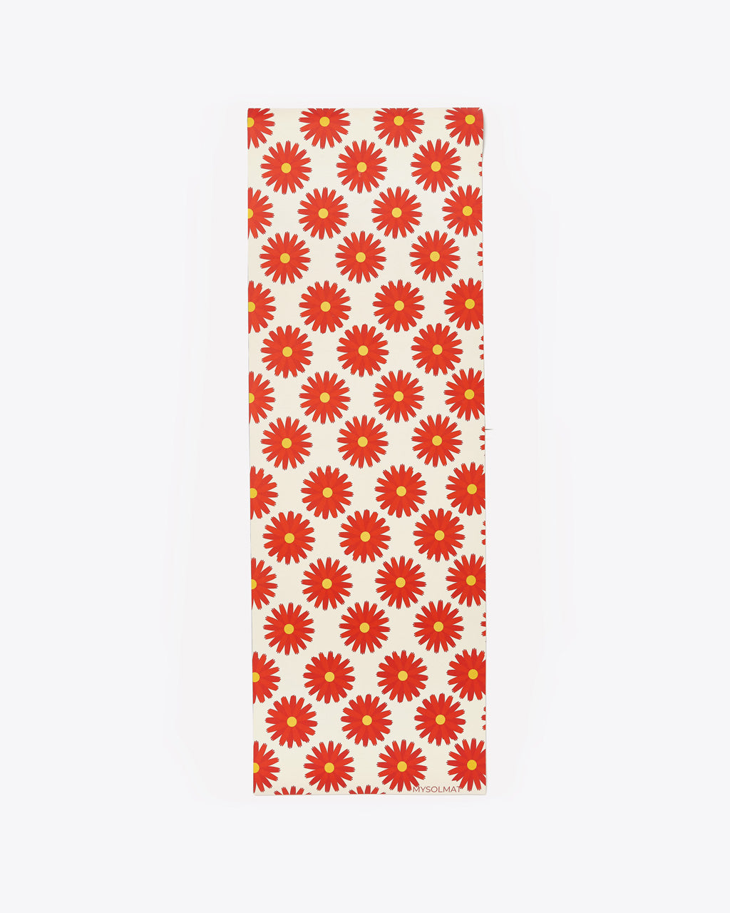 exercise mat with a red floral design all over