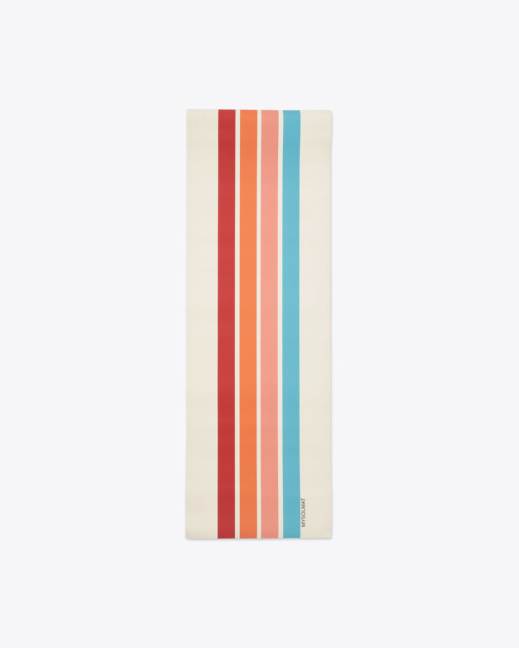 white yoga mat with 4 different colored stripes down the center