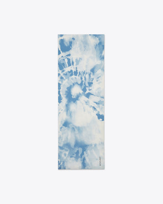 blue and white tie dye yoga mat