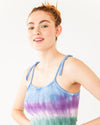 tie strap tie dye tank top shown on model