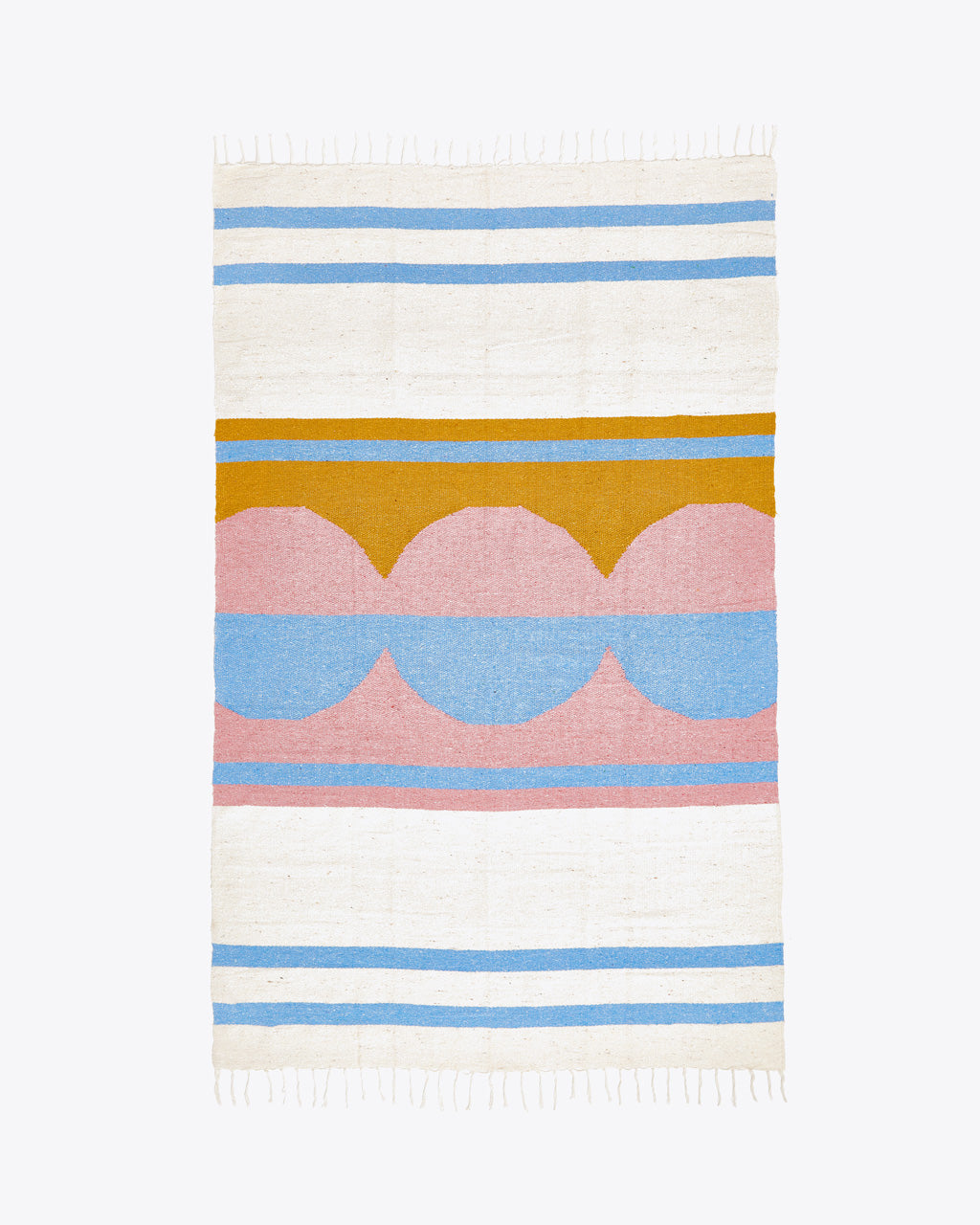 woven blanket with a white, yellow, pink, and blue design