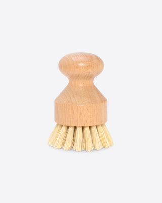 hand dish brush with a wooden handle
