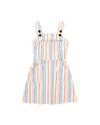 rainbow stripe overall dress with buttons