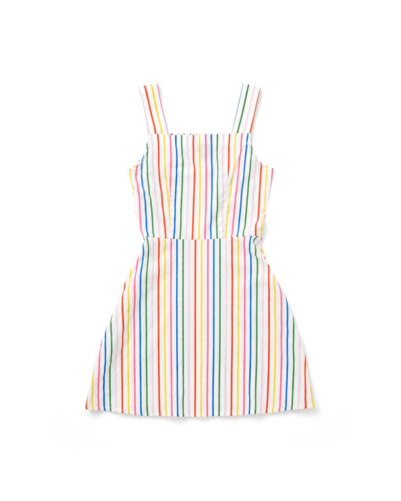 flat view of the back of the rainbow striped overall dress
