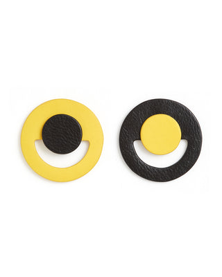 yellow & black oversized circle earrings