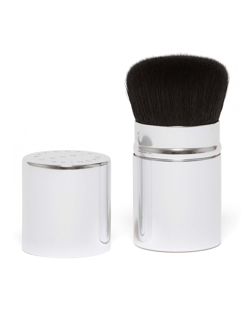 The Cheeky Blending Brush by Onomie comes in a polished chrome holder and cap.