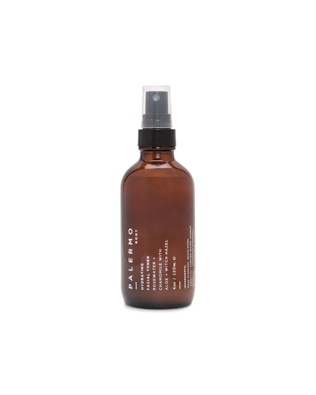 The Hydrating Facial Toner by Palermo comes in an amber spray bottle.