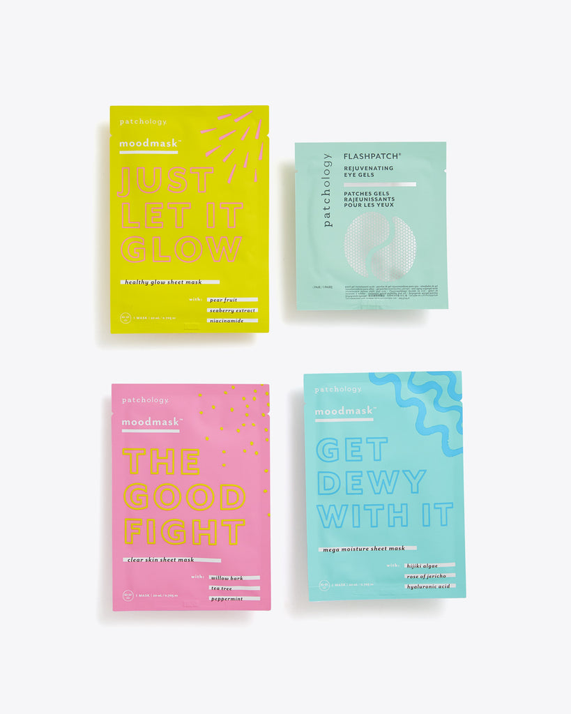 3 different sheet masks, glow, clear skin, and moisture. Also includes eye gel strips