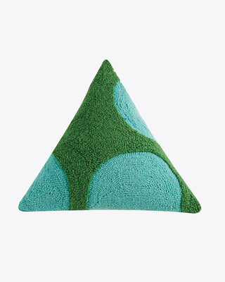 green triangle pillow with blue geometric accents