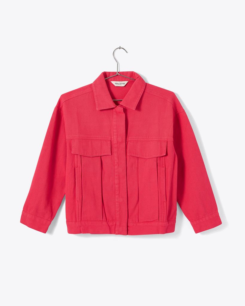 pink coral button up collared boxy jacket with pockets
