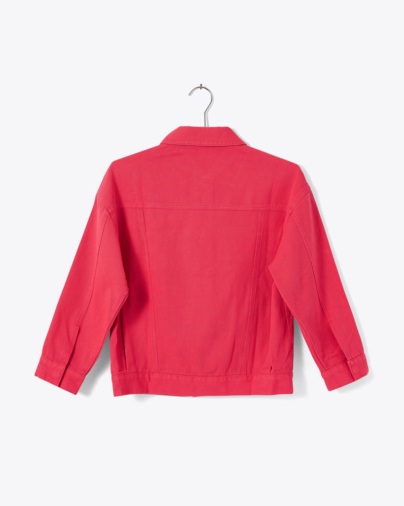 back of pink coral button up collared boxy jacket with pockets
