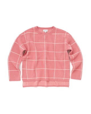 pink sweater with white stripe box design