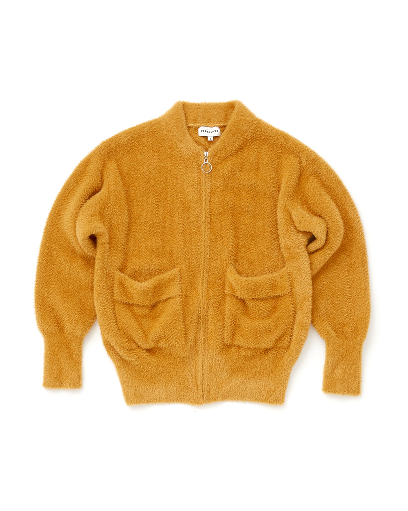 zip tricot jacket in mustard