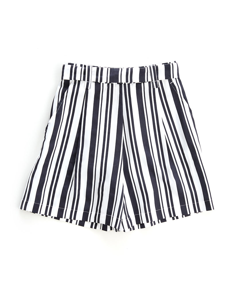 back view of black and white striped shorts