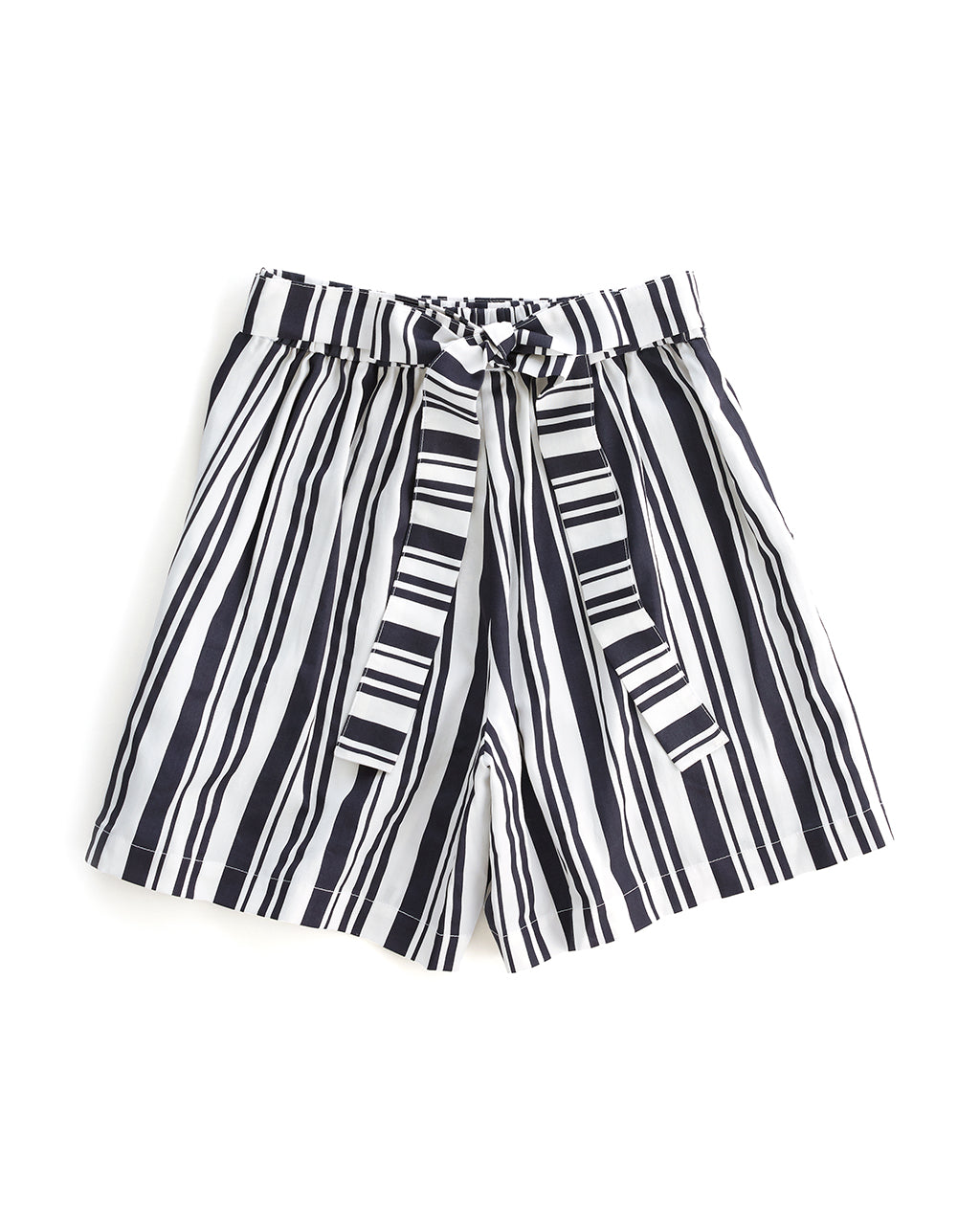 flat view of black and white striped shorts with a tie waist