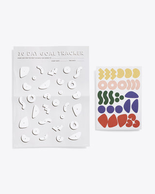 Black and white goal tracker page with abstract shapes and multi-colored sticker set to fill shapes