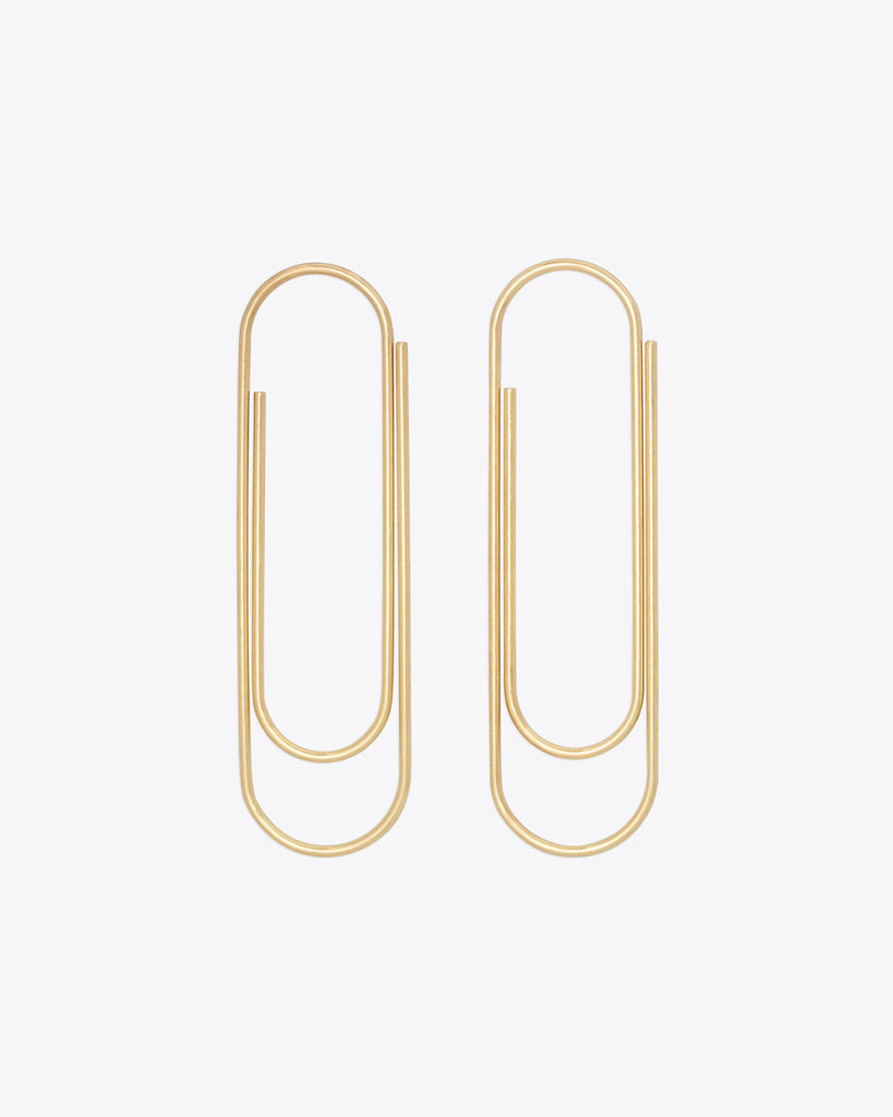Set of two large gold paper clips