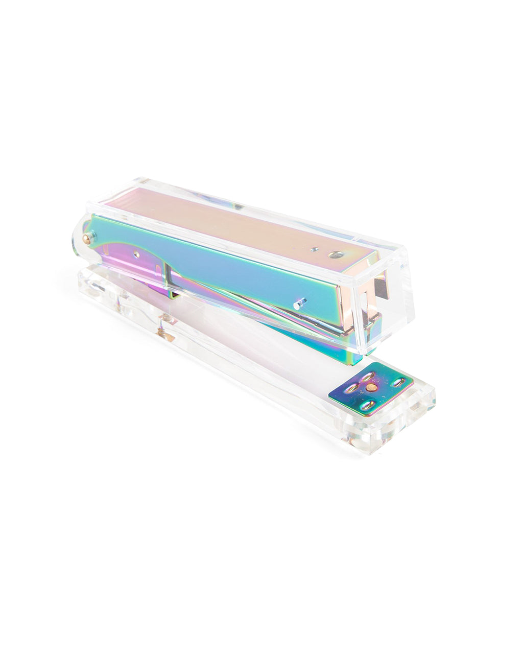 This stapler by Poketo comes in a bright iridescent color.