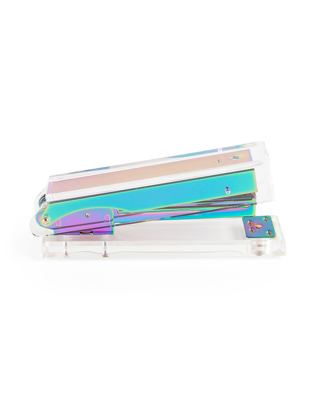 Iridescent metal hardware shines through clear body.