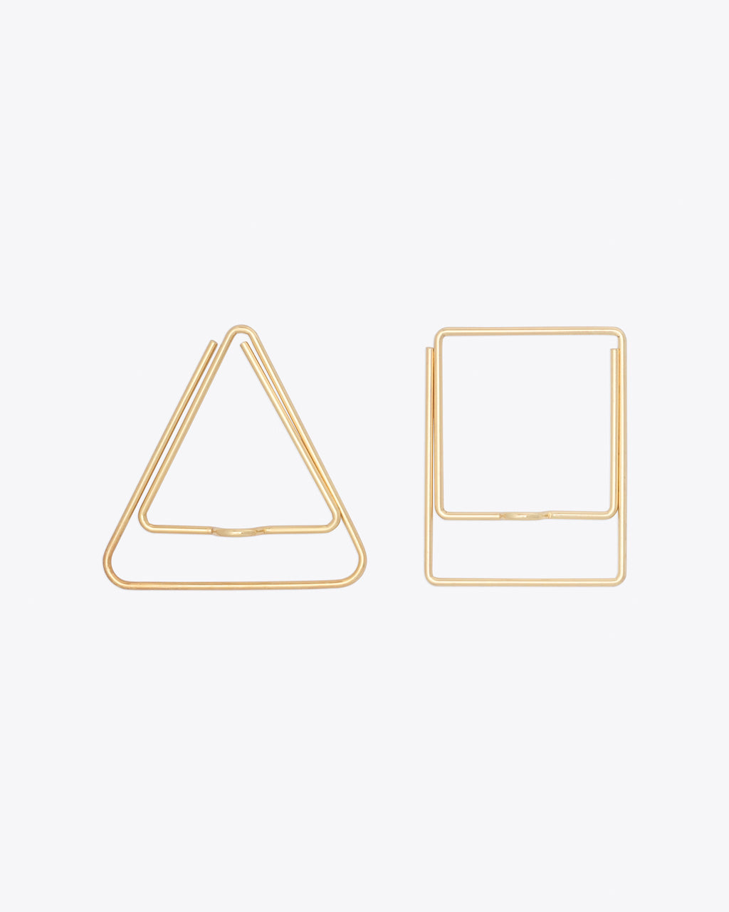 set of 2 geometric shaped gold pen clips