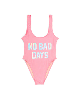 no bad days swimsuit - pink/holographic